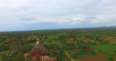 Drone aerial of Shwe San Daw Pagoda and temple background Stock Footage