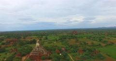Aerial flight over Shwe San Daw Pagoda Stock Footage