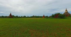 4k aerial ground aerial towards Shwe San Daw Pagoda Stock Footage