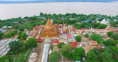 4k aerial towards  Shwe Zi gone Pagoda Stock Footage