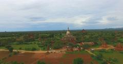 Low forward aerial shot - Shwe San Daw Pagoda and stupas 2 Stock Footage