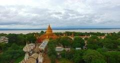 4k aerial - crane shot Shwe Zi gone Pagoda Stock Footage
