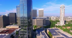 4K, Aerial view of Century City and Solar panels, Los Angeles, California Stock Footage