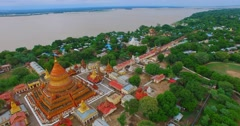 4k aerial pan -  Shwe Zi gone Pagoda Stock Footage