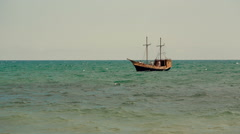 Old Ship in the Sea Stock Footage