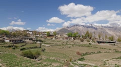 TIMELAPSE village and mountains with clouds,Nako,Kinnaur,India Stock Footage