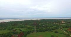4k aerial flight towards Ananda temple Stock Footage