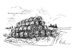 hand sketch the landscape with bales of straw - stock illustration