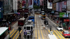 Time Lapse of Bus / Trolley Pedestrian Traffic in Central Hong Kong Stock Footage