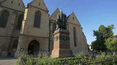 Statue of Bishop Georg Daniel Teutsch in Albert Huet Square, Sibiu Stock Footage