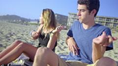 Teens play air guitar Stock Footage