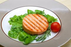 Salmon burger cutlet - stock photo
