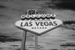 Las Vegas Welcome Sign with Sunrise Sky in Black and White Stock Photos