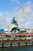 Cargo cranes in the seaport of Klaipeda Stock Photos