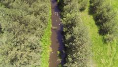 AERIAL: Flight over mountain river Stock Footage