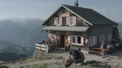 Mythen Restaurant and swiss mountains Stock Footage