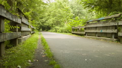Farmington Canal Greenway Straightaway Bike Path, runners Stock Footage