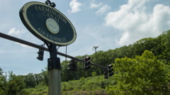 Exercise on Farmington Canal Greenway Sign at intersection, Hamden Stock Footage