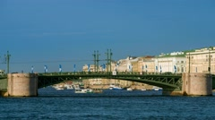 View of the Palace bridge in St.Petersburg Stock Footage