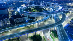 China Shanghai Nanpu Bridge traffic at night time lapse 4K Stock Footage