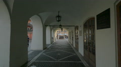 Arcades with street lamps in Sibiu Stock Footage
