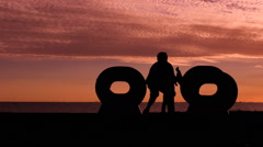 Father and daughter Sunset landscape space Sea 4 Stock Footage