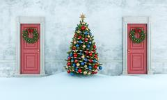 Old house with christmas tree - stock illustration