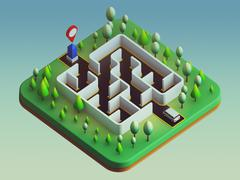 Cars are about to enter the maze - stock illustration