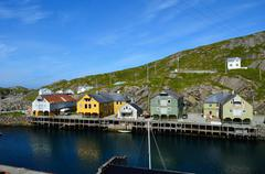 majestic old village of Nyksund in summer in vesteraalen northern Norway - stock photo