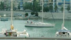 Yacht Floats In The Marina Stock Footage