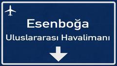 Stock Illustration of Ankara Esenboga Turkey Airport Highway Sign