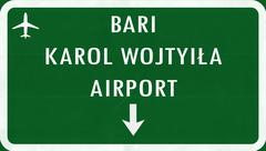 Stock Illustration of Bari Karol Wojtyila Airport Highway Sign