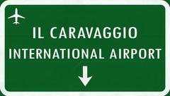 Stock Illustration of Bergamo Italy Airport Highway Sign