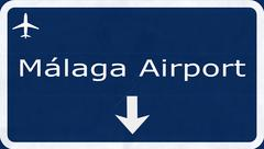 Stock Illustration of Malaga Costa Del Sol Spain Spain Airport Highway Sign