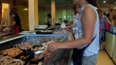 Woman handing Red meat at Shop Stock Footage
