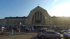 Kyiv, Ukraine, 06.08.2015, Central station, timelapse 4K, crowd of people motion Stock Footage