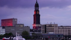 ULTRA HD 4K real time shot,Ships at Hamburg Elbphilharmonie at sunset Stock Footage