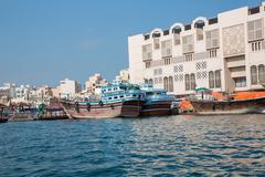 DUBAI, UAE-JANUARY 20: Traditional Abra ferries on January 20, 2014 in Dubai, Stock Photos