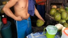 Young buko coconut juice - stock footage