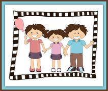 Illustration of cartoon happy family Stock Illustration