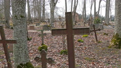 Different designs of cross on the tombs Stock Footage