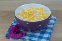 Breakfast with cornflakes Stock Photos