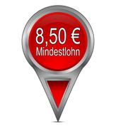 map pointer with 8,50 Euro minimum wage - in german - stock photo