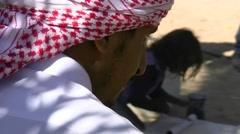 Bedouin family established in the Dahab desert ar Stock Footage