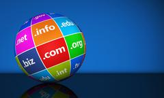Website Domain Names Sign Globe - stock illustration