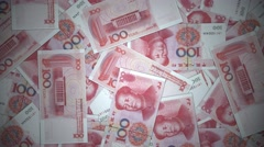 RMB Renminbi yuan Chinese money banknote international economy currency - stock footage
