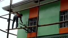 House exterior painter Stock Footage