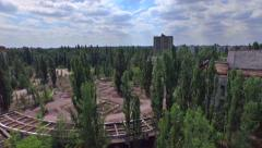 "Palace of Culture ""Energetik"" in Pripyat town near Chernobyl (Aerial) Stock Footage"