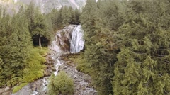 Aerial of a Waterfall in Pacific Northwest Rainforest Stock Footage