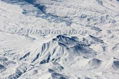 Snow-capped mountains - view from above Stock Photos